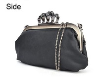 2012 Lady Black Skull Ring Clutch Bag with Metal Chain,  Free shipping, wholesale & retail!