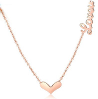 Цепочка с подвеской French 316L Titanium Heart Pendant Necklace 18K Gold Plated Korean Style Fashion Jewelry Necklaces 35646