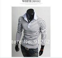 Мужская футболка and retail Hot high quality Metrosexual men's Slim stripes trend cotton POLO shirt, you worth have it