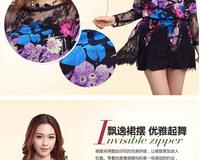 Женское платье new spirng women winter dress patterns flower dress lace chiffon dress colorful print casual dress cute dresses with belt