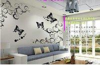 DIY Черная бабочка декоративный интерьер Декаль наклейки бумаги искусства
