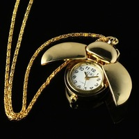 WP063 New Ladies Golden Stainless Steel Case Beatle Style Necklace Pendant Pocket Watch
