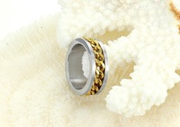 Кольцо Handmade Jewelry ring stainless steel ring Wholeseale Men's Jewelry Size 7/8/9/10 Plating Gold 317