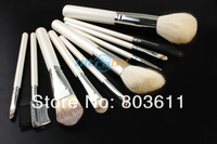 Кисти для макияжа New 10pcs Makeup Cosmetic Brushes Set With White Leather Case