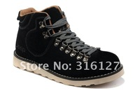 Top Original New outdoor sport winter men's leather boots High warm work office footwear Plush inside Rubber soles size:38-44