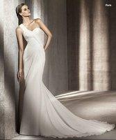 Свадебное платье 2012 Custom Made Mermaid One Shoulder Ruched Chiffon Bridal Gowns Wedding Dress Fashion01