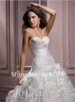 Свадебное платье 2012 Top Popular Gift For Elyse Dress Ball Gown Sweetheart Ruffle Taffeta Ivory Bridal Dresses