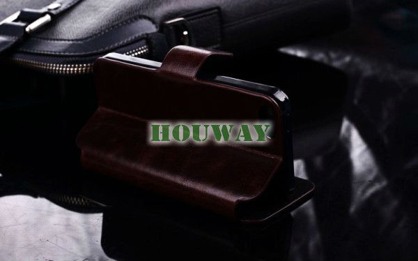 2013 hot selling first layer of cowhide wallet genuine leather case for iphone 5 case