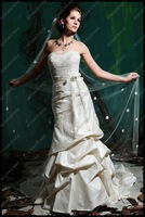 ED-A032  Charming A-Line  Strapless Pleat Court-Train Satin Designer  Wedding Dress 2012