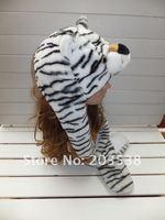 Аксессуары для женщин 2012 Christmas gift Party Hat Fashion Cartoon Animal Hat Hats White Tiger Plush Warm Cap 4pcs/lot