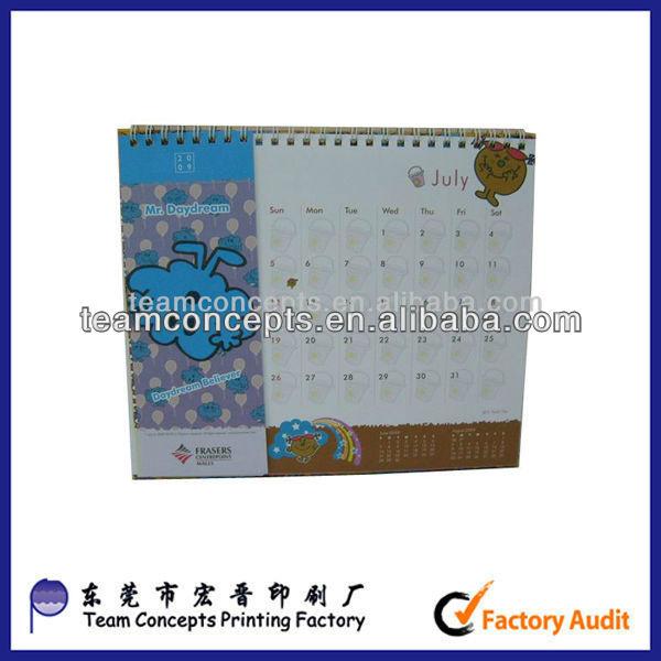 cardboard standing photo desk calendar