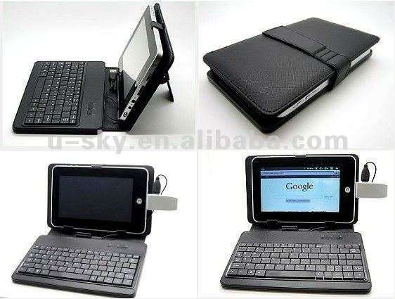 Android 2.3 Tablet PC with WIFI & 3G Internet Touch Screen Tablet Stand with Leather Case USB Keyboard,Camera,8GB Storage,HDMI