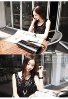 Wholesale + Free Shipping       0253 # 2012 new classic sequined summer cotton Slim vest female backing knit suspenders