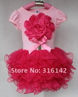 Платье для девочек B2W2 baby girl high quality summer dress children pink with hot pink t shirt pettiskirt 5PCS/lot