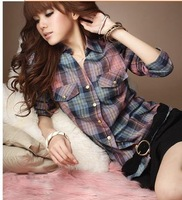 Free shipping Hot selling plaid blouse for women2012, causul  long sleeve shirts for woman