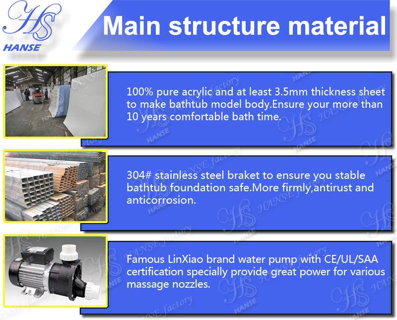 HS-BZ344 best selling freestanding bathtub/soaking bathtubs/dog bath tub make in China