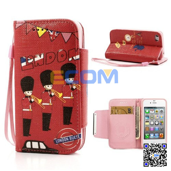 British Royal Guards, Bus Wallet Leather Phone Case for iPhone4/4S