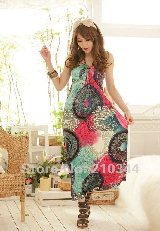 2012New Korea Fashion Elegant India Boho Halter Peacock Floral Cocktail Evening Maxi Long Women Camisole Beach Dress D57#
