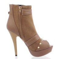 Туфли на высоком каблуке Sexy Belted High Heel Platform Peep Toe Shoes in Beige
