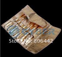 7 Pcs Professional Makeup Brush Cosmetic Brushes Set Kit with Gold PU Case Free Shipping