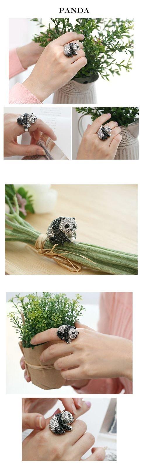 Кольцо из страз Панда 65грн