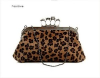 Вечерняя сумка Fashion Skull Knuckle Ring Leopard Handbag Shoulder Tote Party Evening Bag Clutch