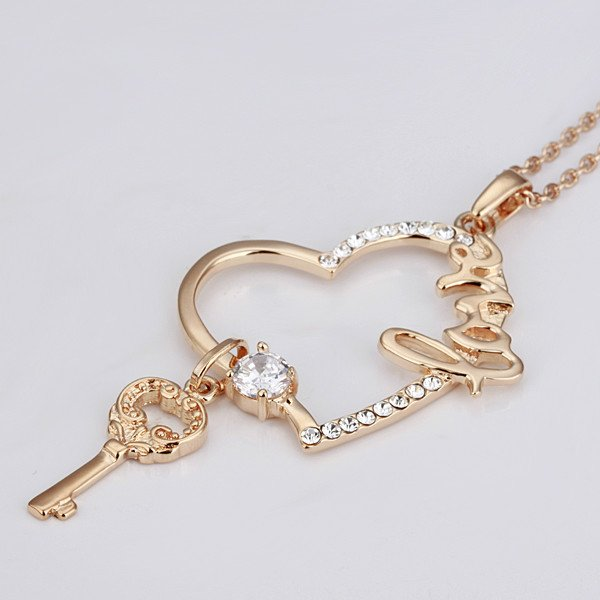 18KGP N075 18K Gold Plated Necklace Nickel Free K Golden Plating Pendant Rhinestone Austrian Crystal SWA Element Heart Key