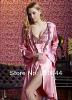 2012 HOT ! Fashion printed Wowen's silk pajamas for Lady Silk Sleepwear & FREE #1221 SIZE M L XL