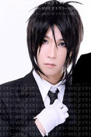 Парик косплей New Style Heat Resistant Short Black Straight Full Cosplay Wig R22