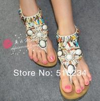 Женские сандалии Bohemian shells diamond colorful beads ShanZuan Rome flat sandals, European size35.-41