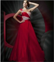 2013 new arrival Exquisite A-line sweetheart one-shoulder Charming  flod fashion red beaded sweetheart neckline prom dress