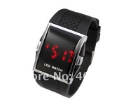 Christmas gift Wholesale Sports wrist watch men LED Black Silicone watch student  w9836