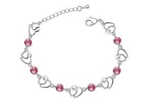 Браслет Austria imports double peach heart crystal bracelet Rhinestone gift for lady