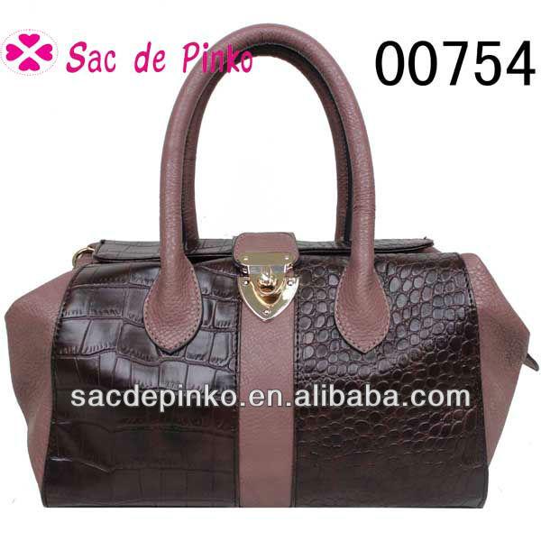 2013 Trendy design Crocodilo PU couro fechamento bloqueado mini hand-made bolsa tote