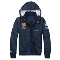 Мужская ветровка New! Polo men's sportswear brand logo zipper folder racing Sportswear / RL1 perfect embroidery