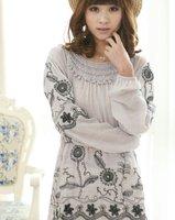 Free Shipping/Drop shipping/Manual embroidery/Bohemian/long sleeve shirt /t-shirts/ women's coat/RG1203073