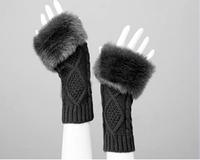 Женские перчатки Autumn and Winter Imitation Rabbit fur Women Wool Gloves / Half-finger Gloves / Knitted Mittens Lengthen, ST318-1