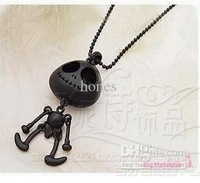 Cute Personality Punk Skull Long Necklace Alien Hobberdy Black Skull Long Chain NeckLace 12pcs/lot,JN5003B