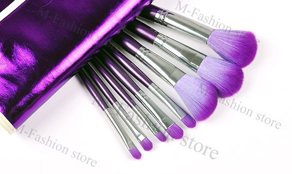 Free Shipping Multifunctional 16 Pcs Purple Cosmetic Eye Shadow Brush Makeup Set