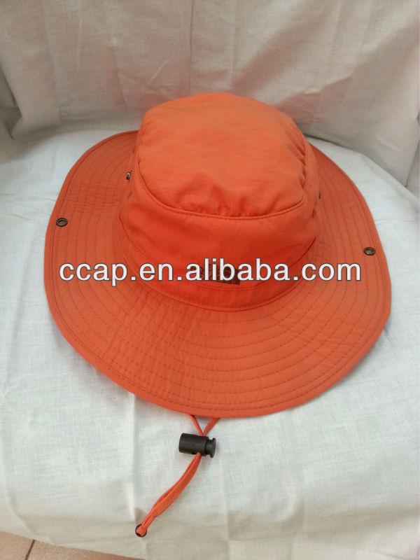 orange wide brim printed adjustable bucket hat