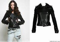 Женская одежда из кожи и замши Retail, Leather Jacket Women, Women's Jacket, Motorcycle Jacket, PU Leather Coat, Slim Fit, Black/JK-048