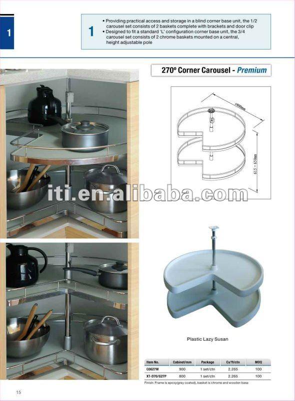 Armoires de cuisine 270 coin carousel rotation lazy susan for Armoire en coin cuisine
