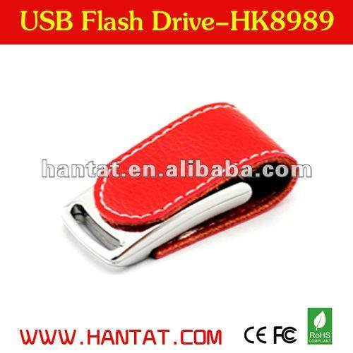 customized logo red leather bulk 2gb usb flash drive