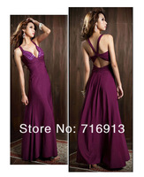 Женское платье New Women's Sexy Low Cut V-neck Strappy Backless Jewel Empire Elegant Evening party Gown Long Dress 3590