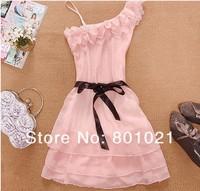 Korea Fashion Style Nice One Shoulder Sweet Pleated Party Chiffon Dress Hot-sell
