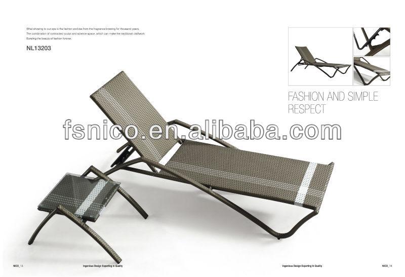 Modern Rattan Sun Lounger With Aluminium Frame