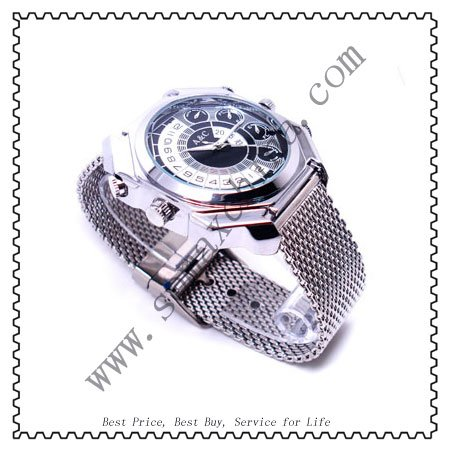 Freeshipping,Cool Style 1080P Waterproof Night Vision Sound Activation Watch Camera,8G