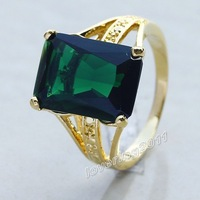 Hamdsome Brand New Men's Emerald 18K Yellow Gold Filled Gemstone Ring Size 10 Hot Gift