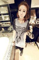 Футболка women short sleeve elephant pattern shirt cute top/tee