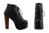 Туфли на высоком каблуке Ladies 4 Color Lita platforms high heels Lace Up Ankle shoes boots 5 5.5 6 6.5 7